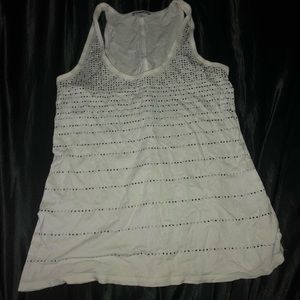White Tank Top with Black and Silver Rhinestones